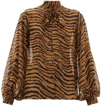Nili Lotan Monica Tiger-print Pussy-bow Silk Blouse - Black Brown