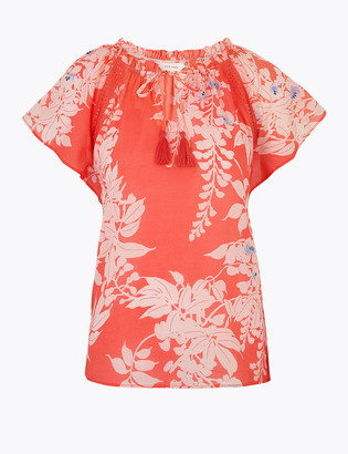 Marks and Spencer Pure Cotton Printed Short Sleeve Blouse