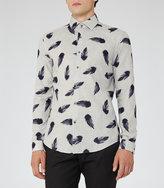 Reiss Reiss Lumineer - Feather Print Shirt In Grey