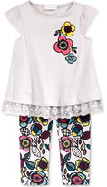 First Impressions Baby Girls' 2-Pc. Lace-Trim Flower Tunic & Floral-Print Leggings Set, Only at Macy's