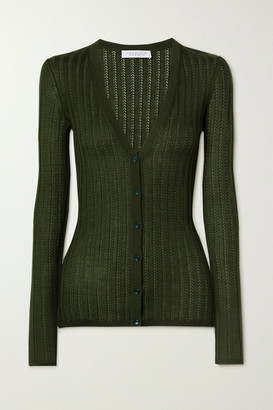 Gabriela Hearst Homer Pointelle-knit Cashmere And Silk-blend Cardigan - Army green
