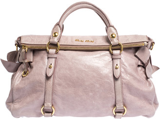 Miu Miu Pale Pink Vitello Leather Bow Satchel