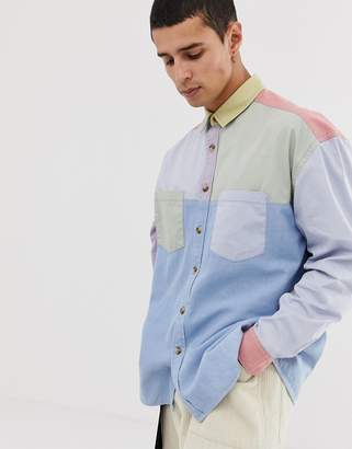 Asos Design DESIGN oversized 90's style cut & sew denim shirt in pastels-Multi