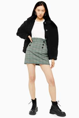 Topshop Womens Check Button Frill Mini Skirt - Green