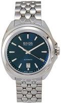 bulova accu-swiss 63B186 Silver-Tone & Blue Watch