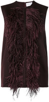 Gianluca Capannolo feather applique top - women - Acrylic/Polyamide/Wool/Ostrich Feather - 40