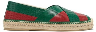 Gucci Web-striped Perforated-leather Espadrilles - Green Multi