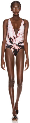 Redemption Deep V Gathered Front Swimsuit in Multi | FWRD