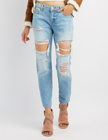 Charlotte Russe Refuge Destroyed Boyfriend Crop Jeans