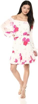 Betsey Johnson Women's Off The Shoulder Floral Chiffon Dress