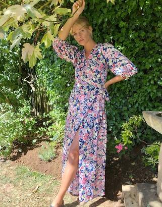 Vila wrap midi dress in floral print