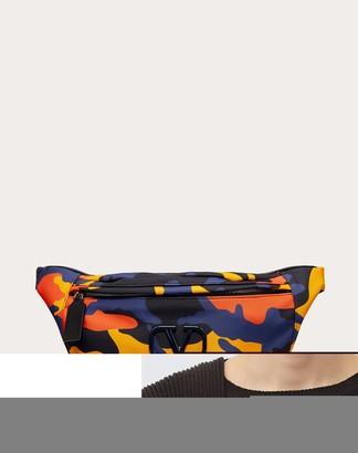 Valentino Garavani Uomo Camouflage Nylon Belt Bag Man Navy Camo/orange Polyester 45%, Polyamide 39%, Polyurethane 16% XL