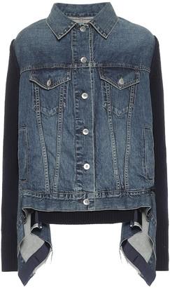 Sacai Wool-trimmed denim jacket