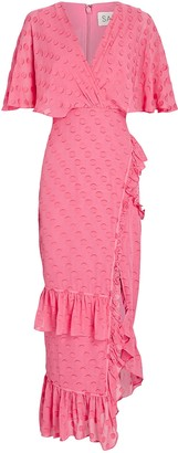 Saloni Rose Ruffled Midi Wrap Dress