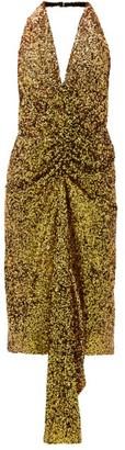 Halpern Gathered Sequinned Dress - Womens - Gold