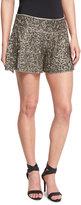 Haute Hippie Marisa Beaded Flutter Shorts, Gunmetal