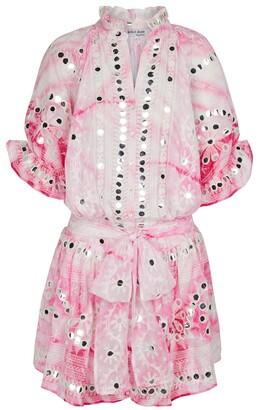 Juliet Dunn Sequined tie-dye cotton minidress