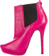 Cesare Paciotti Leather Round-Toe Ankle Boots