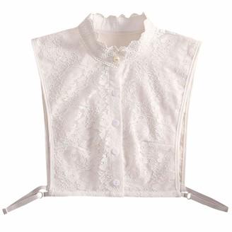HEFYBA Pearl False Collar Lace Detachable Collar Blouse Half Shirts Dickey False Fake Turtleneck Half Top Button Down Blouse White