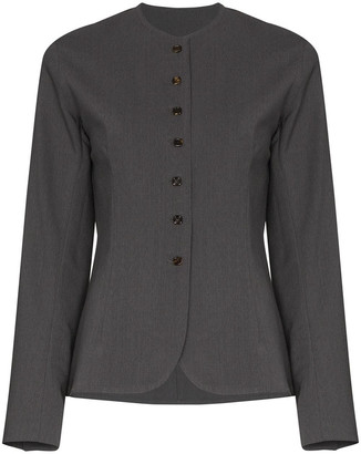 Eftychia Collarless Single Breasted Blazer