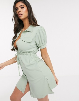 Qed London belted utility shirt dress