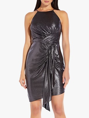 Adrianna Papell Metallic Dress, Black/Gunmetal