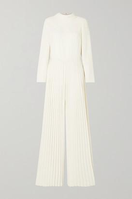 Monique Lhuillier Pleated Crepe Jumpsuit - Ivory