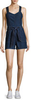 7 For All Mankind Sleeveless Short Denim Playsuit, Blue