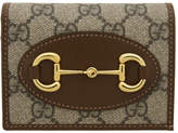 Gucci Beige and Brown GG Supreme 1955 Horsebit Wallet
