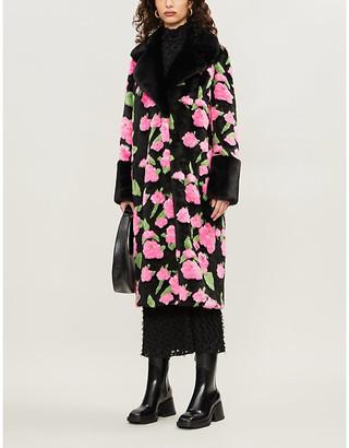 Liliana floral-print faux-fur coat