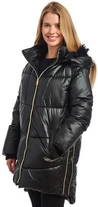 Fleet Street Women's Long Faux Down Hooded Coat with High/Lo Hem Lines