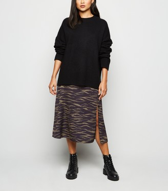 New Look Petite Satin Tiger Print Midi Skirt