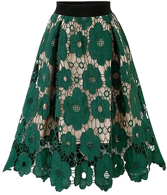 Amasoo Women's Casual Skirts green - Green Floral Lace Sheer-Layer Skirt - Women