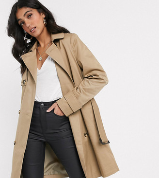 Asos DESIGN Tall trench coat in stone