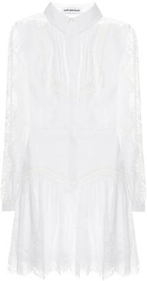 Self-Portrait Lace-trimmed mini shirt dress