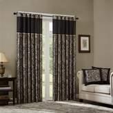 "E and E Co., LTD. Madison Park Aubrey Jacquard Panel Curtain Pair - Black - 50 x 108"""
