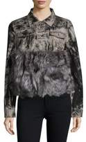 Adrienne Landau Real Fox Fur Denim Jacket
