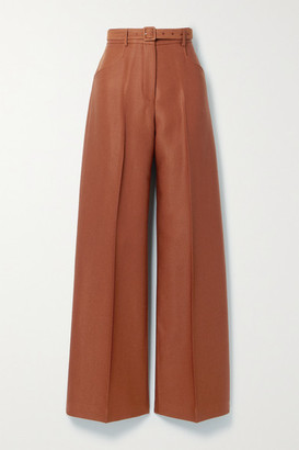 Gabriela Hearst Norman Belted Wool And Silk-blend Twill Wide-leg Pants - Brick