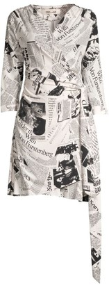 Diane von Furstenberg Shia Newspaper-Print Wrap Dress