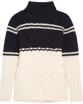 J.Crew Edna Cable-knit Turtleneck Sweater - Navy