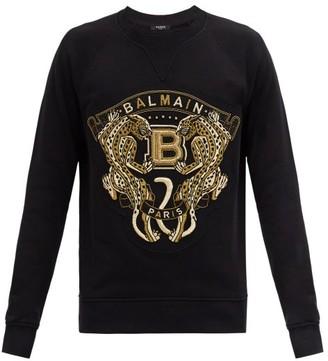 Balmain Logo-embroidered Cotton-jersey Sweatshirt - Black