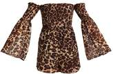 Missguided LEOPARD SHEARED BARDOT Jumpsuit brown