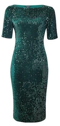Dorothy Perkins Womens Green Sequin Velvet Bodycon Dress, Green