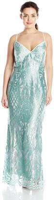 ABS by Allen Schwartz Women's Plus-Size Embroidered Lace Gown with Plunging Neckline