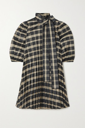 RED Valentino Oversized Tie-detailed Pleated Checked Poplin And Grosgrain Mini Dress - Black