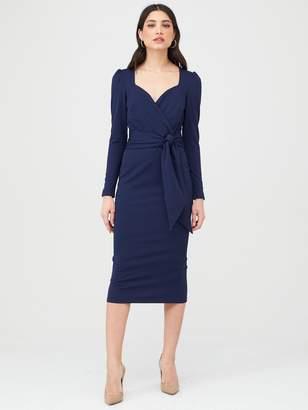 Very Wrap Tie Midi Dress - Navy