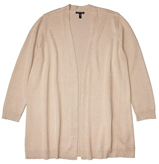 Eileen Fisher Plus Size Long Cardigan Sweater (Natural) Women's Sweater