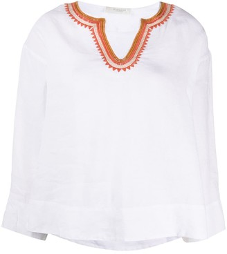 Glanshirt embroidered V-neck blouse