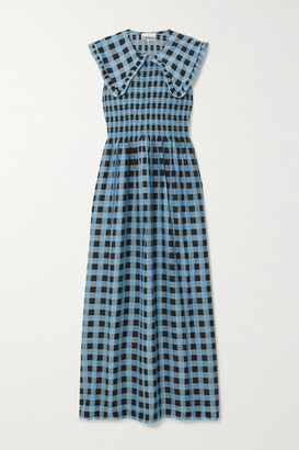 Ganni Smocked Checked Cotton And Silk-blend Maxi Dress - Blue
