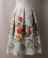 Adele Berto Women's Casual Skirts White - White & Red Floral Pleated A-Line Skirt - Women